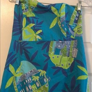 Lily Pulitzer blue strapless dress